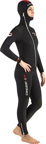 Cressi Damen Tauchanzug Diver 5 mm mit Angesetzter Haube, Schwarz/Red, S, LU488002 -