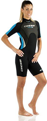 Cressi Damen  Overall Med X Shorty, Schwarz/Weiß/Blau, S, LV437502 -