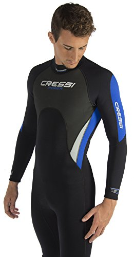 Cressi Herren Einteiliger Tauchanzug Morea All-In-One, Black/White/Blue, L, LU476004 -