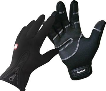 ADS Herren Fahrradhandschuhe, für den Winter, Touchscreen-kompatibel Medium schwarz - schwarz -