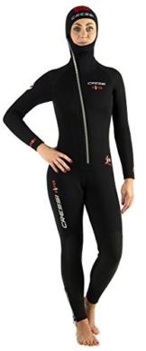 Cressi Damen Tauchanzug Diver 7 mm mit Angesetzter Haube, Schwarz/Red, M, LU489703 -