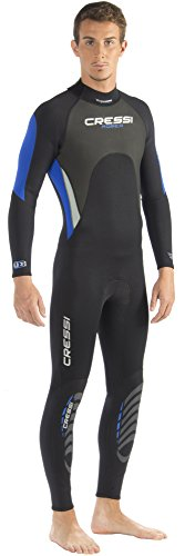 Cressi Herren Einteiliger Tauchanzug Morea All-In-One, Black/White/Blue, XL, LU476005 -