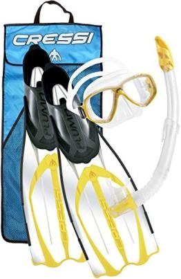Cressi Schnorchel Set Pluma Bag (Brille, Schnorchel, Flossen), gelb, 37/38 -