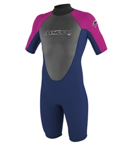 O'Neill Wetsuits Mädchen Neoprenanzug youth reactor 2 mm S/S spring, Navy/PunkPink, 8, 3803-BB4 -