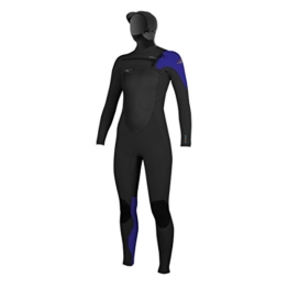 O'Neill Womens Superfreak 6/4mm Chest Zip Hooded Wetsuit - Black/ Cobalt/ Sky -