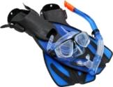 Ultrasport Taucherbrille, Schnorchel und Schwimmflossen Bahamas blau EU 42-45 -